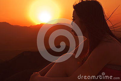 Portrait of a girl in sunset