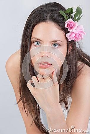 Portrait of girl w flowers in her hair