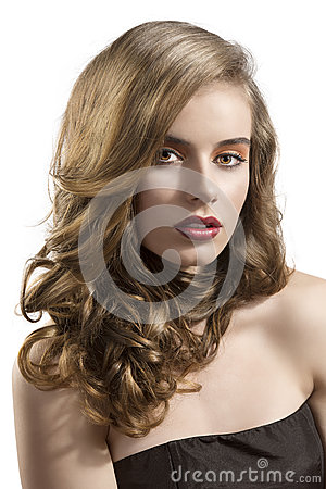 Portrait of girl with wavy hair sensual expression