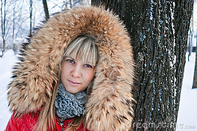 Portrait of a girl winter.