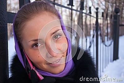 Portrait of a girl winter.