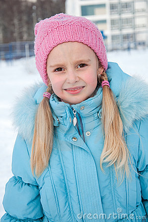 Portrait of a girl in winter clothes