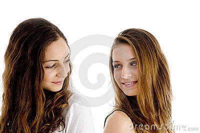Portrait of girls looking to each other
