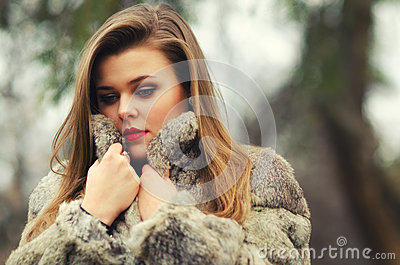 Portrait of the glamorous brunette lady Stock Photo