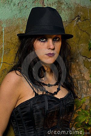 Portrait of goth girl with hat