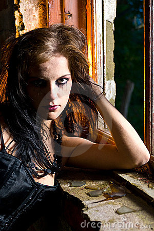 Portrait of goth woman