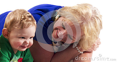 Portrait of a grandmother and grandson