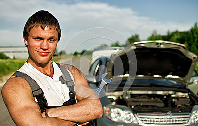 Portrait of a hadsome mechanic