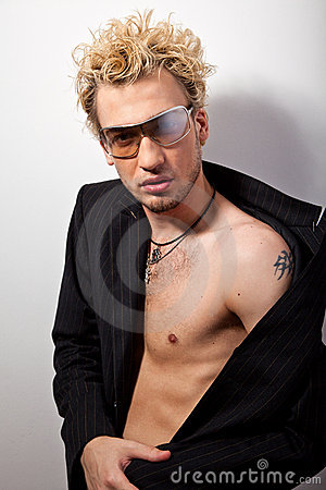 Portrait of handsome blond man in sunglasses
