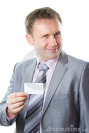 Portrait of handsome business man with blank card