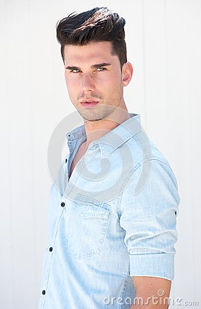 Portrait of a handsome male fashion model