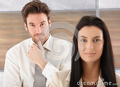 Portrait of handsome man thinking Stock Photo