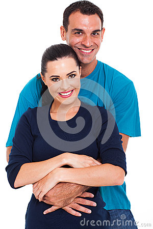 Man arms around wife