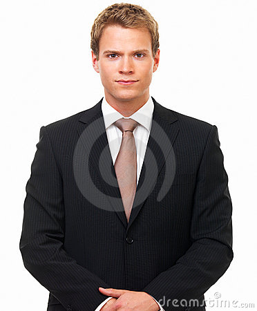 Portrait of a handsome young businessman staring