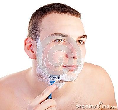 Portrait of handsome shaving man