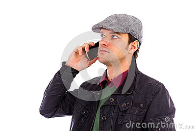 Portrait of handsome young man using mobile phone