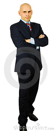 Portrait of hansome businessman fold his arms