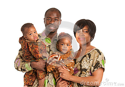 Portrait of Happy African American Family Isolated