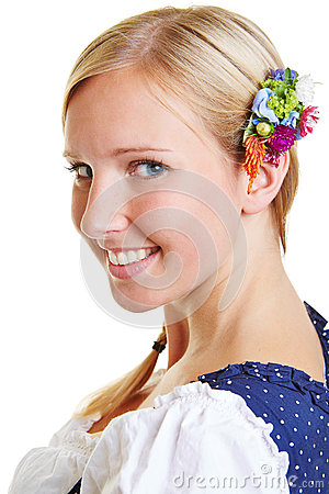 Portrait of happy Bavarian girl