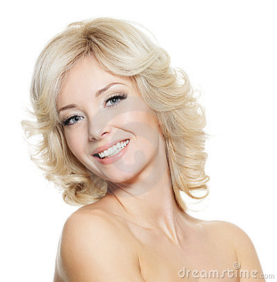 Portrait of happy beautiful blonde woman