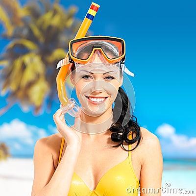 Portrait of happy beautiful woman at beach