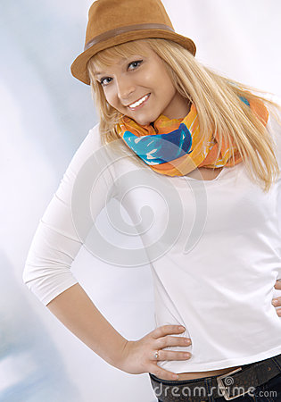 Portrait of a happy beautiful young blond woman