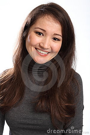 Portrait of happy beautiful young oriental woman