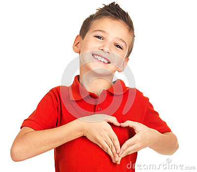 Portrait of happy boy with a heart shape