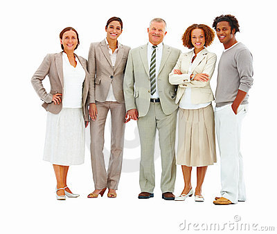 Portrait of happy business colleagues  Isolated