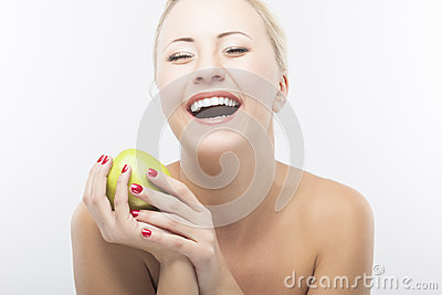 Portrait of Happy Caucasian Woman Dieting and Eating Apple. Heal Stock Photo
