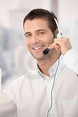 Portrait of happy customer service operator