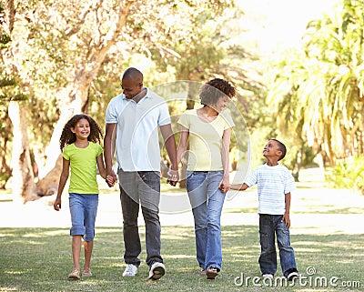 Portrait of Happy Family Walking In Park