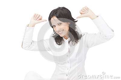 Portrait of a happy gesturing woman over white