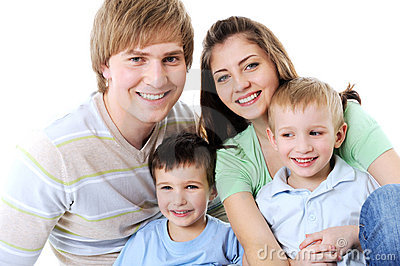 Portrait of happy laughing young family