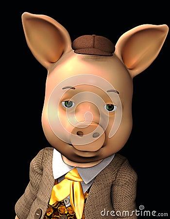 Portrait of a happy little pig