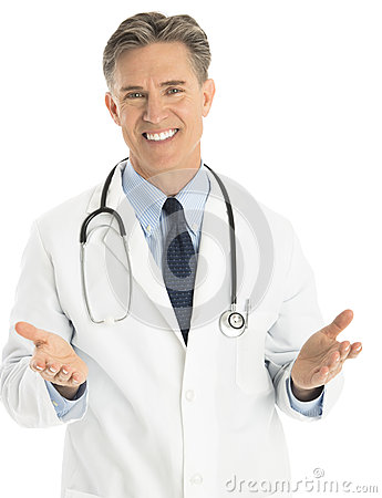 Portrait Of Happy Male Doctor Gesturing