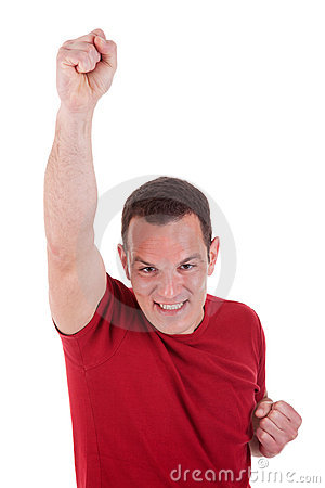 Portrait of a happy  man with his arm raised