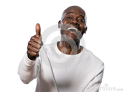 Portrait of happy man showing thumbs up
