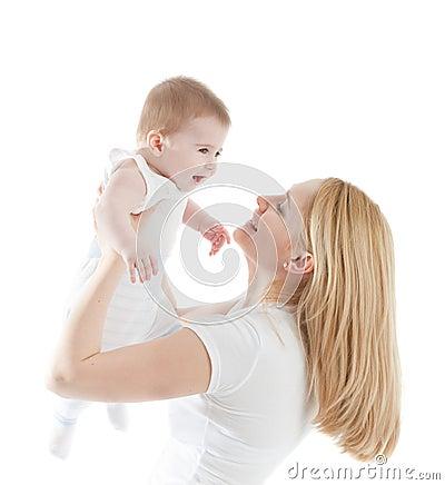 Portrait of happy mother with joyful baby