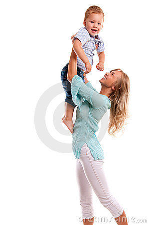 Portrait of happy mother with joyful son
