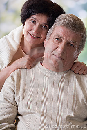 Portrait of happy old couple, outdoor