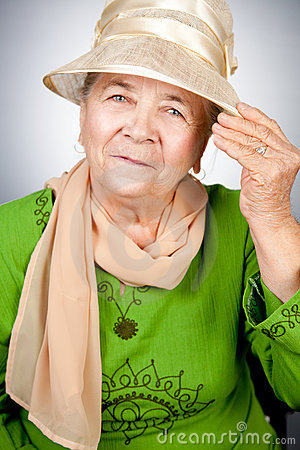 Portrait of happy old senior woman