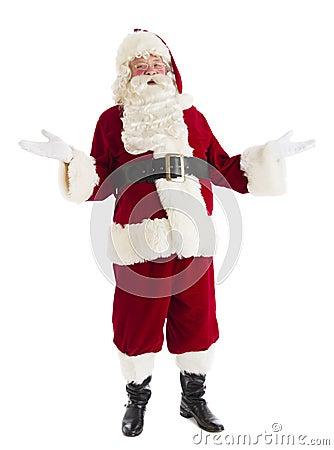 Portrait Of Happy Santa Claus Gesturing