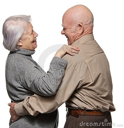 Portrait of a happy senior couple embracing