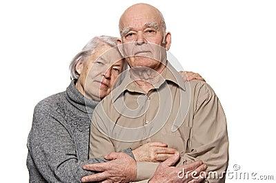 Portrait of a happy senior couple embracing