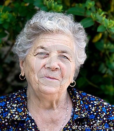 Portrait of happy senior lady