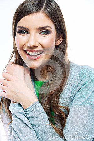 Portrait of happy smiling woman.  on white backgro