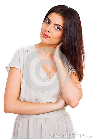 Portrait of happy smiling young beautiful woman