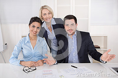 Portrait of a happy successful smiling business team.