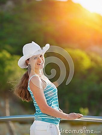 Portrait of happy woman enjoying vacation